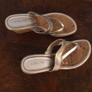 9.5 unusable cork wedge silver sandals